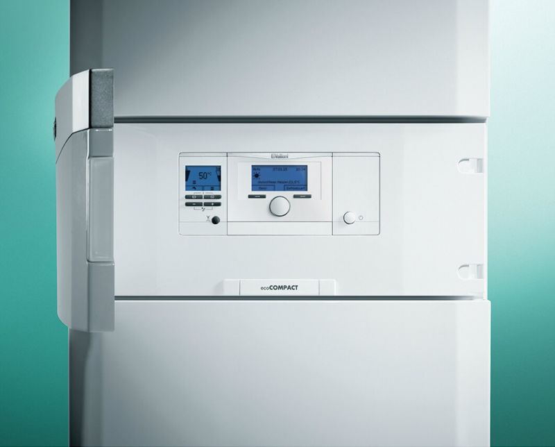 Centrala in condensare cu boiler incorporat Vaillant ecoCOMPACT 30kW VSC 306/4-5 + kit evacuare, 150 litri,  0010015923