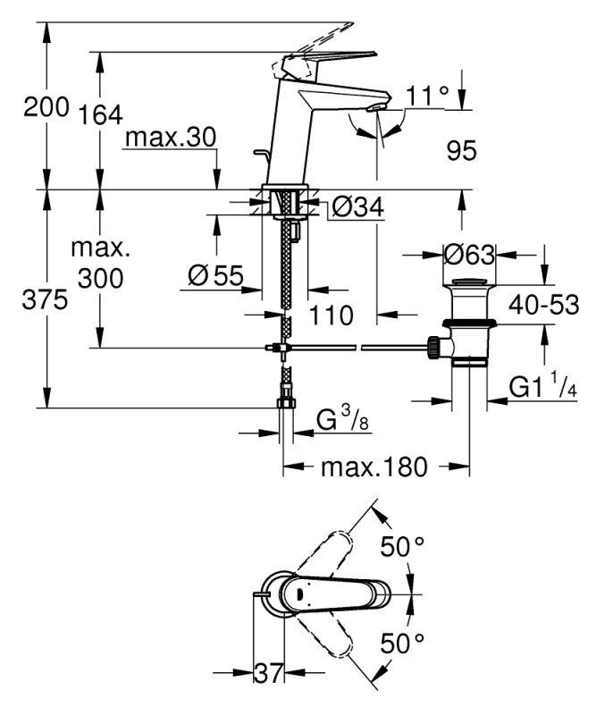 Baterie stativa lavoar Grohe Eurodisc Cosmopolitan S 23049002