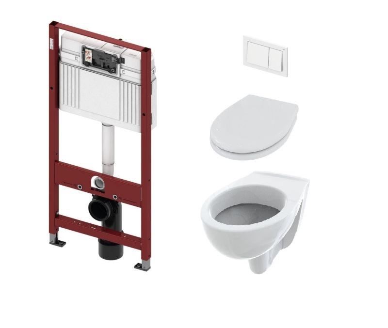 Pachet rezervor apa, incastrat, Tece, clapeta de actionare, vas WC si capac incluse