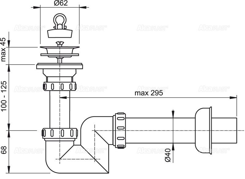 SIFON LAVOAR CU VENTIL METALIC SCURGERE A412