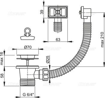 VENTIL BUCATARIE 1.1/2 CU SITA+PREAPLIN INOX 70 A331