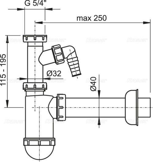 SIFON LAVOAR 1.1/4/40 + RACORD MASINA SPALAT A43P