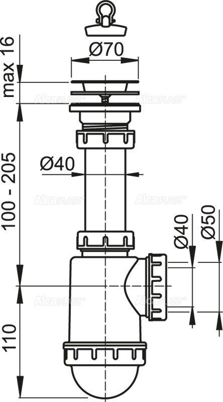 SIFON CHIUVETA + VENTIL SITA INOX DN70 A441-50/40