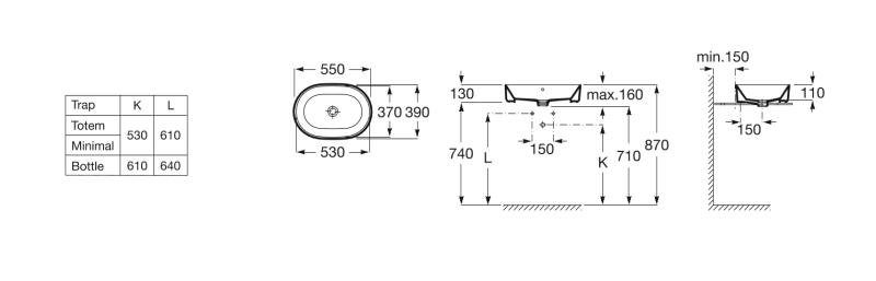Lavoar pe blat Roca The Gap 55x39cm, oval, fara orificiu pentru baterie, A3270Y1000