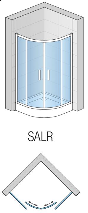 Cabina semirotunda dus SanSwiss Salia 90 x 90 x 190 cm, doua usi culisante + 2 parti fixe, SALR550905007