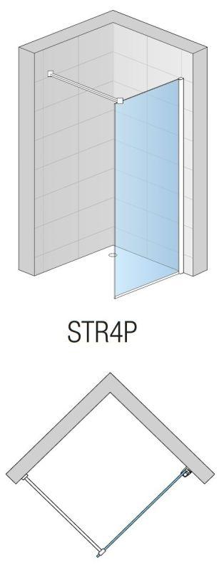 Perete dus WALK-IN fix Easy, L.80 x H.200 cm, profil slefuit si sticla transparenta 8MM, STR4P0805007
